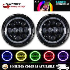 Pair RGB 7'' LED Headlights DRL Halo Lights Combo For JEEP Wrangler JK TJ LJ CJ