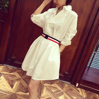 Women's Korean Style Cotton Loose Big Size Swing Round Belt Waist Casual Dress