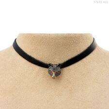Charm Choker Necklace Ruby Handmade Jewelry Diamond Pave 925 Sterling Silver Fox