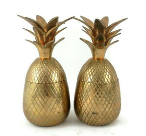 Vintage Hollywood Regency Pair of Brass Pineapple Trinket Boxes Mid-Century Mod