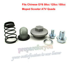 GY6 50cc 125cc 150cc Oil Strainer Cap Drain Plug Bolt Screen Seal Spring Scooter