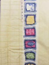 7+ yd Blue,Gold Square,Stripe Print Beige Cotton Fabric,Crafts