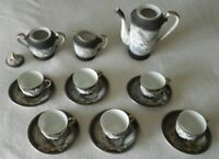 Hand Painted Betson/Hadson Tea Set, Embossed Dragon, 15 pieces Japan