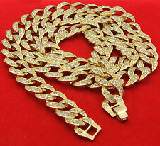 """16k UV Gold Plated Iced Out Cz Mens Miami Thick 14mm Cuban Chain 30""""Necklace"""