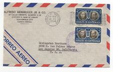 1954 GUATEMALA Air Mail Cover CITY to LOS ANGELES CA USA Bank of London PAIR