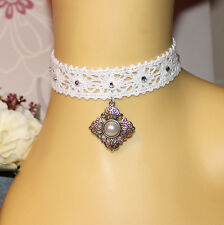 Flapper style white crochet lace choker with rhinestones and faux pearl pendant