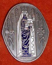 broche Vierge Sainte Marie Couronnée Jésus Blé récolte agriculture emaux enamel