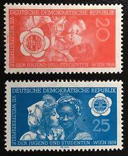 DDR 1959, World Youth Festival Vienna, Full set MNH Yv № 419-420 2v