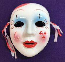 Vintage Wall Decor Mardi Gras Ceramic Porcelain Heart Drop Masks