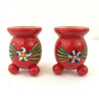 "x2 2"" Tall Red Painted Wooden Candle Holders for 1/2"" Diameter Candles"