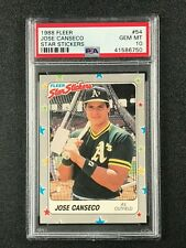1988 Fleer Star Stickers  Jose Canseco  PSA 10  Oakland Athletics  Texas Rangers