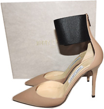 Jimmy Choo Trinny Pointy Toe Pump Beige Leather Heel 39.5- 9 Ankle Cuff Buckle