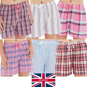 Womens Pyjama Sleep Shorts Check Stripe Nightwear Lounge Pink Blue Love To Sleep