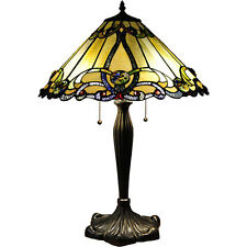Tiffany Style Victorian Table Lamp Stained Glass Gold Beige Amber Jewel Shade