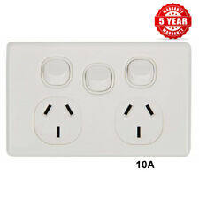 Double Power Point With Extra Switch 10 Amp SLIMLINE