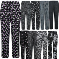 WOMENS LADIES PLAZZO TROUSERS FLORAL PRINT SUMMER CASUAL ELASTICATED LOUNGE PANT