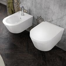 Sanitari sospesi in ceramica bidet e wc con sedile softclose chiusura rallentata