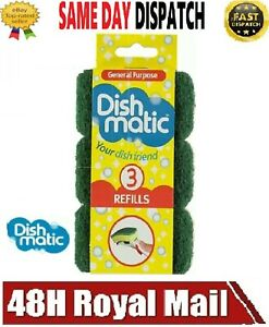 DISHMATIC WASHING UP KITCHEN BRUSH REFILL SPONGE REPLACEMENT HEADS 3 PACK GREEN