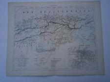 Carte 19° 1852  couleur atlas Malte brun Algérie Environ d'Alger