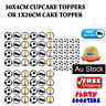 🏅 30 pcs Soccer Ball Cupcake Cake Cake Topper Edible Wafer Paper Birthday Party