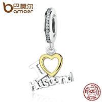 Bamoer European S925 Sterling Silver Charm I LOVE HUSBAND Clear cz fit Bracelet