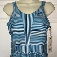 NWT TEHAMA OUTDOOR M Medium Dress Blue Striped Knee Length Sleeveless Stretch