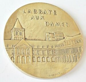 FRANCE NORMANDY REGIONAL COUNCIL, THE LADIES CAEN ABBEY 1988, 80mm SILVER MEDAL