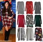 Womens Red Green Tartan Check Print Long Sleeve Swing Skater Dress plus size8-24