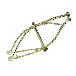 """BRAND NEW! GOLD GOLDIE LOCKS TWISTED 20"""" BICYCLE FRAME LOWRIDER BICYCLES"""