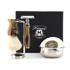 Haryali 5-Piece White Badger Brush Shaving Set Resin with Safety Razor Barber 5X