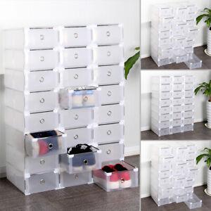 NEU 24X Transparent Schuhbox Schuhkarton Schuhaufbewahrung Schublade Stapelbar