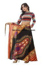 African Skirt Dashiki Print Womens High Waist Boho Wrap Around Long Maxi Dress