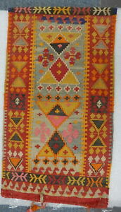 Antique Hand Woven Wool Pile Turkish Wall Hanging Tapestry Geometric Rug 34x19