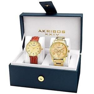 Akribos XXIV AK884YG Tachymeter Day Date GMT Brown Goldtone Mens Watch Set