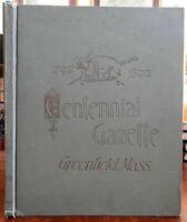 Greenfield Massachusetts 1892 Centennial Gazette pictorial American history