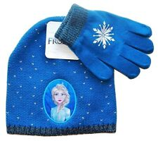 DISNEY FROZEN 2 ELSA Girls Knit Fashion Winter Beanie Hat & Gloves Set NWT