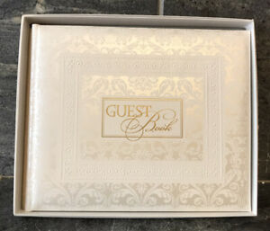 VTG 90s HALLMARK WEDDING GUESTBOOK Damask White Gold Metallic DEAD STOCK W/BOX