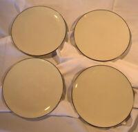 Lenox Olympia Platinum Salad Plates Ivory Platinum Rim VGC Set Of 4 Discontinued