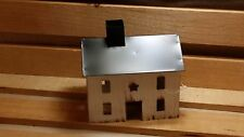 Primitive White Tin Saltbox House, New, Country, Metal, Rustic, Star Cut Out