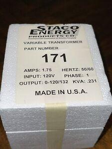 Staco Energy Type 171 Variac Variable Transformer 0-120/132V Amp: 1.75 NEW