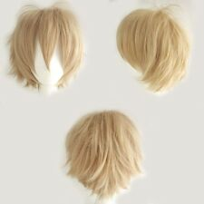 US UNISEX Women Men Anime Short Wig Black Brown White Cosplay Party Full Wigs HQ