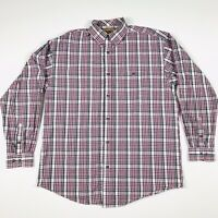 WRANGLER 20X Button Up Purple and Gray Plaid Men's Long Sleeve Cotton Shirt  XL