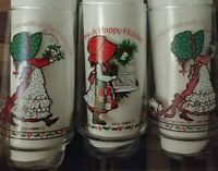 Lot of 3 Vintage Limited Edition Holly Hobbie Christmas Coca-Cola Coke Glasses