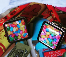 Unique JELLY BEANS CUFFLINKS rainbow SWEET jelly belly SUGAR CANDY confectionary