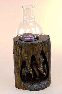 Windlicht mit Elefanten Holz Kerzen Ständer Glas Teelicht Halter Thai Elefant