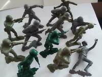 "VINTAGE Lot of 13 Louis Marx Toys 6"" German & American Soldiers 1963 RARE"