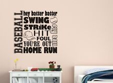 BASEBALL COLLAGE SUBWAY Words Lettering Vinyl Wall Decal Quote Sports Sticker
