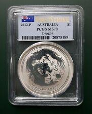 AUSTRALIA DRAGON 2012 1 OZ 999 pure SILVER COIN First Strike PCGS MS 70 !!!