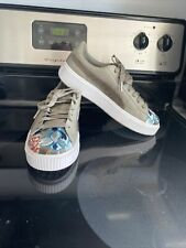 Puma Platform Hyper Embroidery Taupe 366123 03 Womens Size 8.5