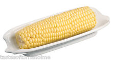 Kitchen Craft Set of 2 White Porcelain Corn On The Cob Holder Dishes 20cm x 8cm